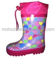 factory wholesale cheap kids clear rubber rain boots custom printed