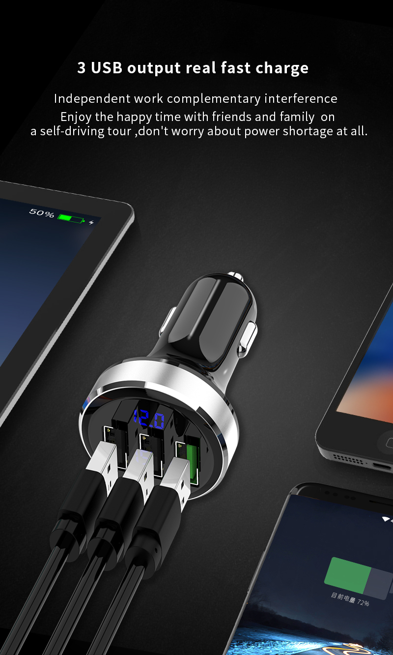 GXYKIT AP03S New design QC3.0 three USB port car charger for phone fast charger 3 USB port