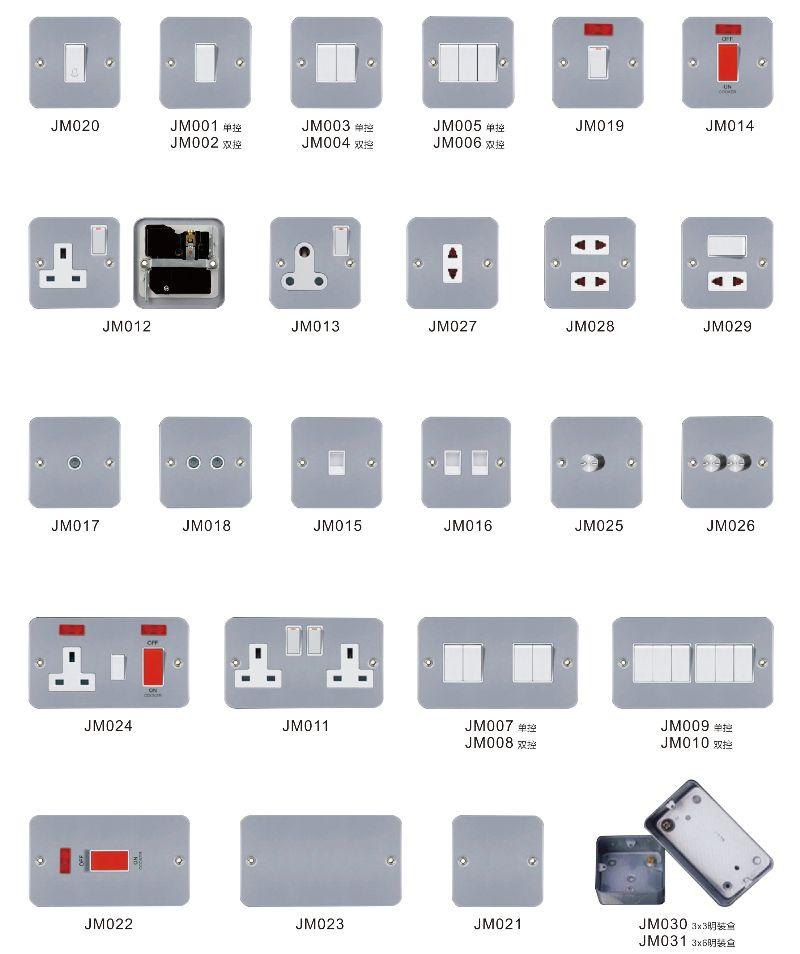 British Type Wall Light Switch 3 Pin Socket Electrical Socket Power ...