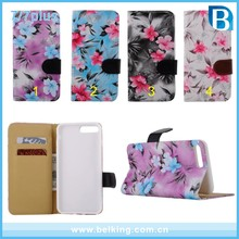 Small Flower Color Painted Wallet Leather Case for iPhone 7 7plus, Flip Leather Cover Case for iPhone 7