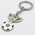 Wholesale Metal Color Filling Key Chain Stamp Portugal Football World Cup Trophy Souvenirs Keychain
