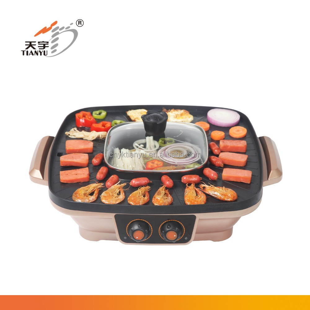 half grooved and half flat electric griddle with removable oil tray