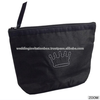 Black embroidered and zippered silk cosmetic bag