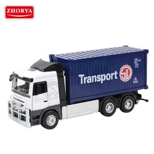 Zhorya 1:32 alloy metal model diecast container truck for kids