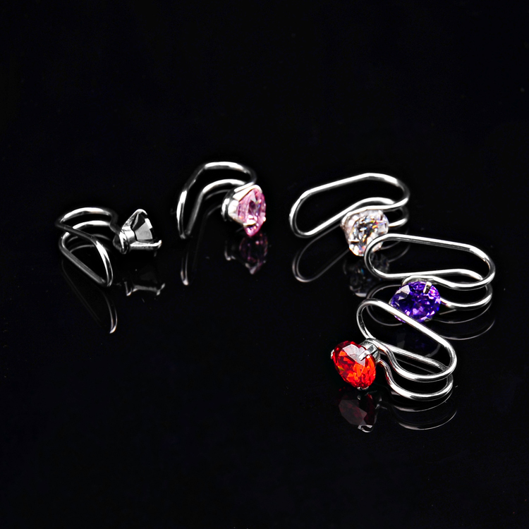 Wholesale geometric zircon prong setting ear clip non piercing earring