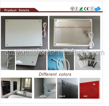 High Cost Performance wall mounted electrical convector glass panel heater with CE/IP54/GS approved