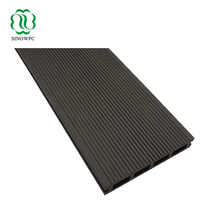 140x23mm WPC grooved deck board, black wood plastic composite deck board, bamboo composite decking applied along riverside