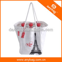 100% nature promotion cotton bag with rope handle price