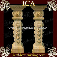 Outdoor building handrail decorative cream marble square stone column pillar design