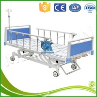 Handicapped / Old Man Home Care Nursing Bed , Foldable Sickbed With Shelf,Three Function Manual Bed