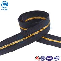 DW brand No.5 garment color plated aluninum/brass/metal zipper long chain roll