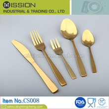 Restaurant flatware gold plated stainless steel bulk cutlery