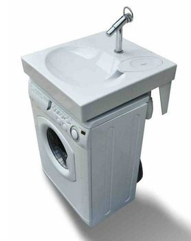 space saving washbasin flat bathroom sink fits above washing machine buy space saving. Black Bedroom Furniture Sets. Home Design Ideas