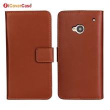 Factory Wholesale Mobile Phone Accessories Phone Leather Wallet Flip Cover Case for HTC One M7 with Card Holder