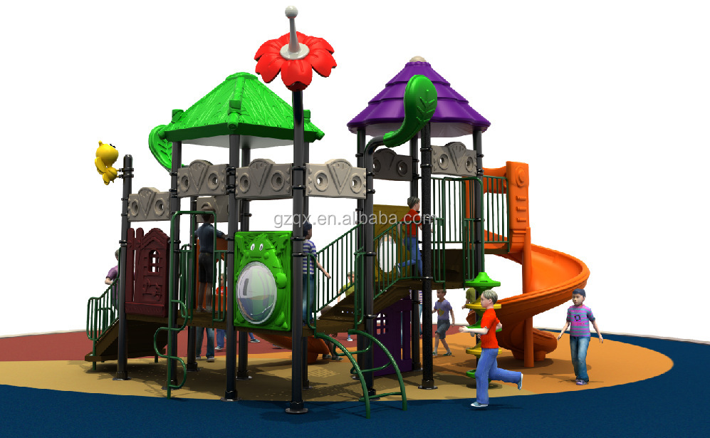 Latest design children outdoor used playground equipment for sale plastic playground cheap school playground equipment QX-028A