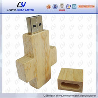 Customized special Wooden USB Wooden Cross 16GB USB 2.0 Flash Drive