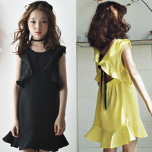 Wholesale Kids Frock Designs Sexy Girls Short Backless Cotton Dress