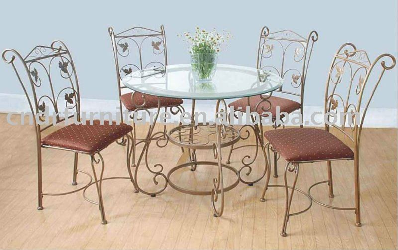 Metal round dining room set with maple leaf