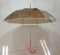 Straight automatic clear umbrella leopard print on poe material,long handle umbrella