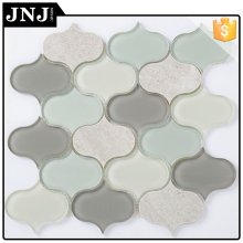 Home And Office Wall Decor Marble Mix Glass Mosaic Wall Tiles