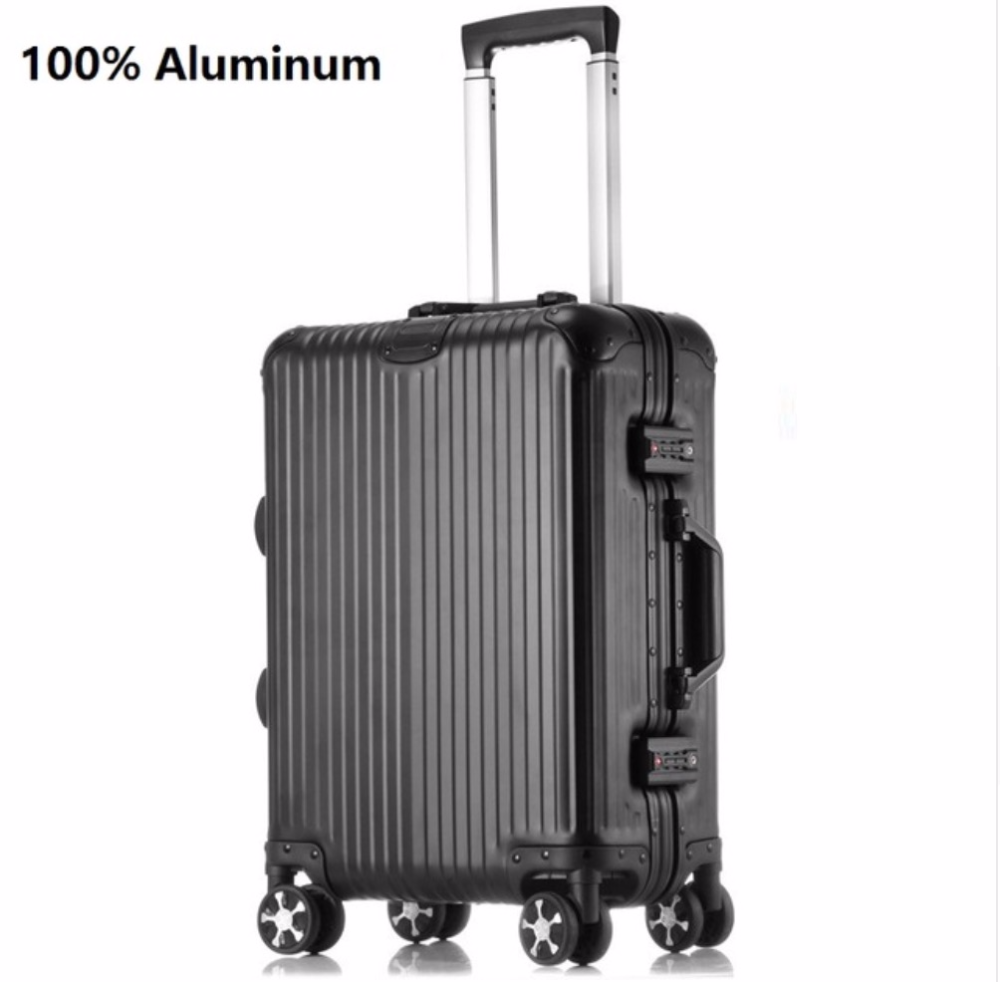 wheels rolling luggage 100% aluminum suitcase spinner Carry-on Cabin Trolley Case