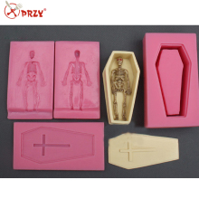 Halloween Cross coat coffin skull turned sugar silicone mold DIY cake barking mold customized silicone molds