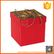 red paper wedding favor gift box with handle