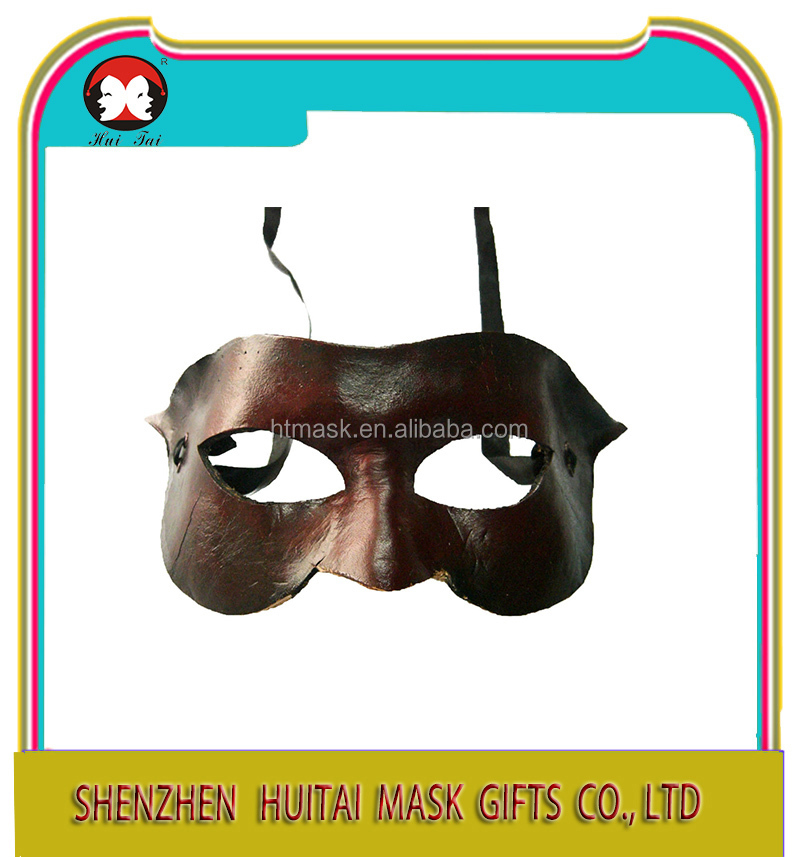 Classic Costume Black Leather Eye Mask Authentic Unisex Masquerade Half Mask Mardi Gras Prom Halloween Masquerade Event Leather