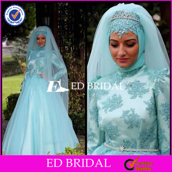 New Collection Lace Appliqued Tulle Light Sky Blue Muslim Wedding Dress