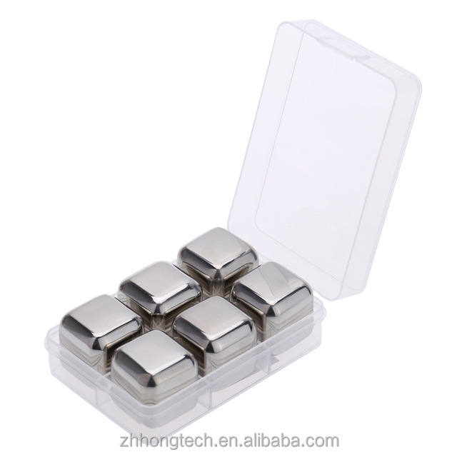 Wholesale 6PCS Pack Stainless Steel Whiskey Stones, Stainless Steel Ice Cube for <strong>Wine</strong> With PPbox