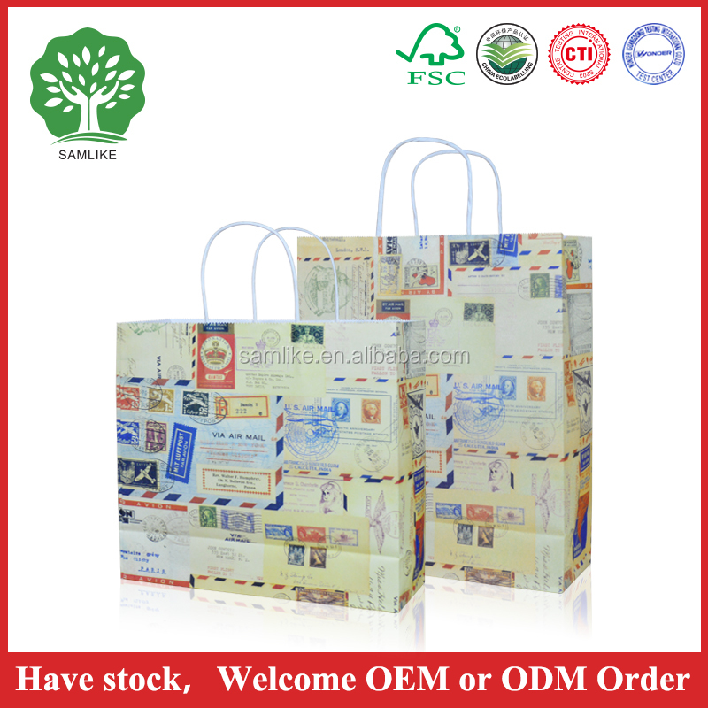 High qualityBig kraft paper bag with handle horizontal Multifunction wedding party bag cloth gift paper bags