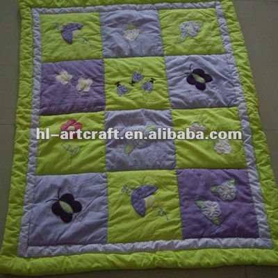 Yellow Butterfly Cotton Applique Quilt For Children