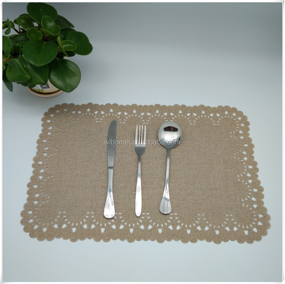 Superior quality Factory 100% Linen fabric laser cutting table plate mat for dining room,hotel