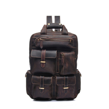 YD-8027 Top Grain Crazy Horse vintage custom Genuine Leather laptop mochila backpack for man , Vintage Back Pack for Men
