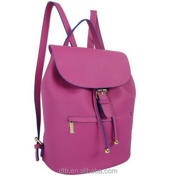 Stylish PU Backpack with Contrast Color Fabric