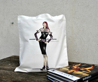 Eco black rock lady woman handpainted shopper canvas fabric tote bag