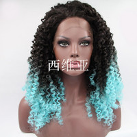 ombre color wig sexy curly wig for black women heat resisting synthetic lace front wig