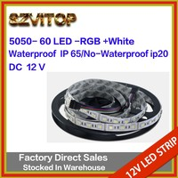 SV Led Strip Light SMD 5050 60Led/m rgb+ White waterproof IP20 Tape Light DC 12V 5 Meters High Brightness with Adhesive