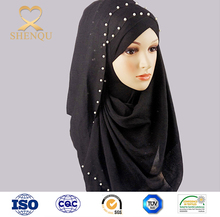 Wholesale Women beautiful Muslim Hijab Fashion Pearl Cotton Scarf Chain Colorful Plain Scarves