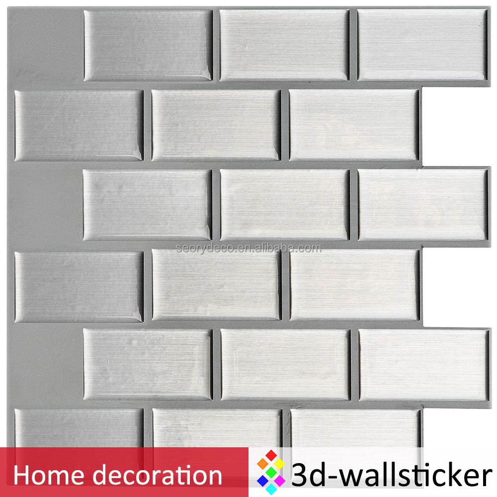 Big Size Self Adhesive Wall Tile Backsplash 3d Pu Gel Kitchen Wall Sticker In Subway White