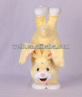 Electronic handstand yellow Rabbit stuffed animal plush toy, jumping & moving his feet with music