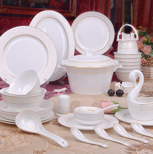 60pcs Jingdezhen fancy ceramic gold rim fine porcelain dinner sets