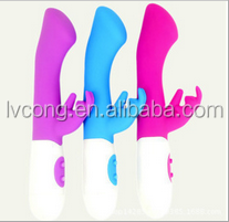 Colorful Silicon adult av dildo toy joy double rabbit vibrator
