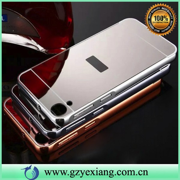 luxury gold chrome mirror metal bumper case for htc desire 830 back cover case