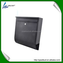 Metal Iron black powder spray painting square waterproof lockable wall mounted mailbox letterbox postbox newspaper holder