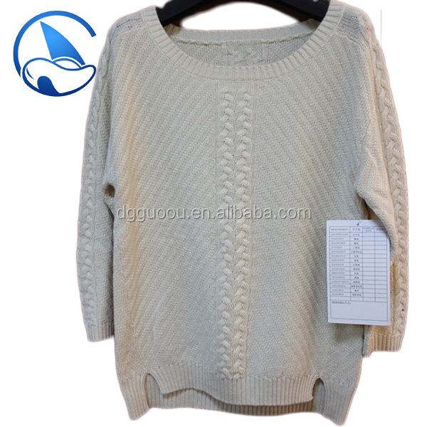 3/4 sleeve boat neck ladies cable knit sweater