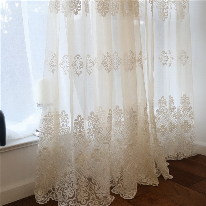 high quality luxury grace elegant fancy voile curtain fabric with embroidery living room