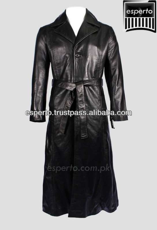 leather long belted trench coat, movie hero gothic punk coat