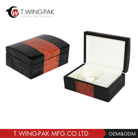 High quality MDF glossy piano lacquer wooden custom jewelry box wooden necklace / bracelet / ring box