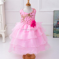 Hotsale flower style sleevees girls frock designs for party